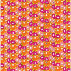 Marimekko Mini Unikko Lime/Pink/Orange Fabric $48.00