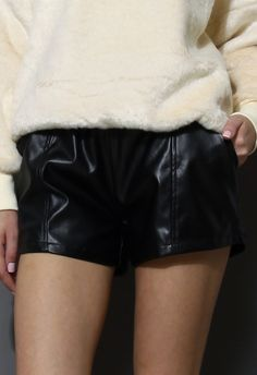 Faux Leather Shorts plus the soft furry white sweater makes the perfect textural combination http://www.chicwish.com/faux-leather-shorts.html  33$