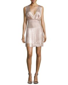 TCE4J Herve Leger Naomi Draped Foil Fringe Dress, Rose Gold Foil