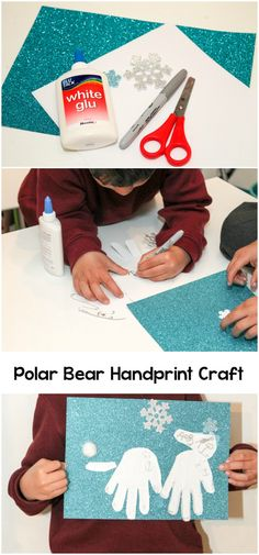 Simple winter craft idea for kids. Make polar bear handprints and use them for a winter scene collage