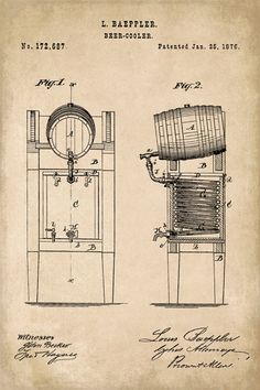 Keep Calm Collection - Beer Keg Cooler Patent Art Poster Print (http://www.keepcalmcollection.com/beer-keg-cooler-patent-art-poster-print/)