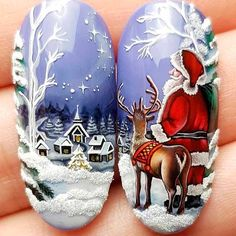 новогодние идеи маниюра 2019 Chistmas Nails, Christmas Nails 2019, Xmas Nails, 3d Nails, Holiday Nails, Acrylic Nails, Nail Art Noel, Winter Nail Art, Christmas Nail Art