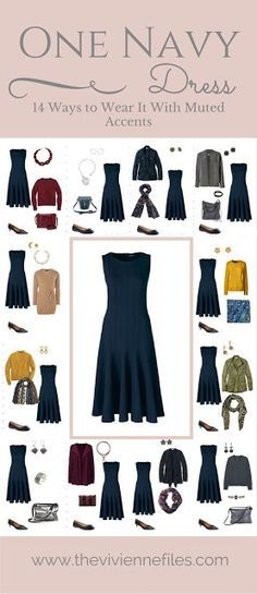One Navy Dress in a Capsule Wardrobe: 14 Ways to Wear it With Muted Accents - The Vivienne Files - One Navy Dress in a Capsule Wardrobe: 14 Ways to Wear it With Muted Accents Source by sszeltner - Fashion Over, Work Fashion, Fashion Outfits, Womens Fashion, Fashion Tips, Curvy Fashion, Fall Fashion, Travel Outfits, Dress Fashion
