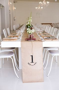 Hessian Cloth Table Runner - Featuring the table number along the edge of each table runner,
