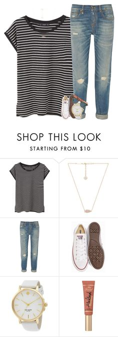 """""""im latching onto youu"""" by ellaswiftie13 ❤ liked on Polyvore featuring MANGO, Kendra Scott, R13, Converse, Kate Spade, Too Faced Cosmetics and Ray-Ban"""