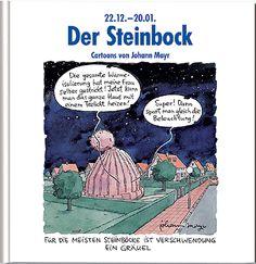 #Geschenkbuch #Sternzeichen #Steinbock, mit lustigen Cartoons und Texten.