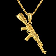 European Style Gun Pendant Necklace 4 Size Hip Hop Chain Men Women Jewelry Black Gold Color Stainless Steel bijoux AK47 Necklace