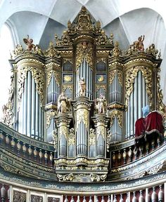 Majestic decorated organ in St. Nikolai Kirche, Luckau, Germany, built in 1672.