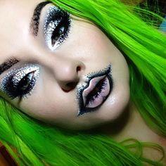 """For my lips I used Dark Matter eyeshadow, White Liquid Liner, Ultra Skinny Eye Marker, and Pro…"" La Girl Cosmetics, Melt Cosmetics, Crazy Makeup, Makeup Looks, Eyeliner, Eyeshadow, Doll Painting, Liquid Liner, Dark Matter"