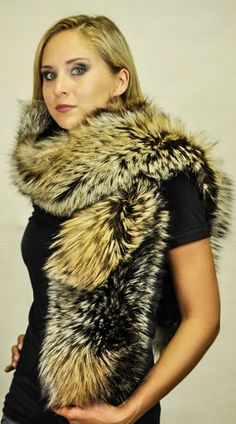 multi mix colours real genuine fox fur pelt neck warmer snood scarf unisex
