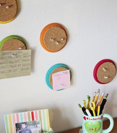 Mini, circle cork boards -- handy for quick notes or something you need to memorize