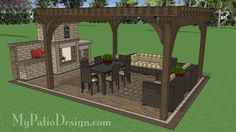 16 ft. x 16 ft. Cedar Pergola Design   Perfect for Shading Medium to Sized Areas   Download Plans at MyPatioDesign.com