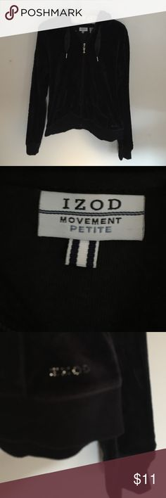 IZOD: Black velour hoodie with zip-up front! IZOD:  Warm and snazzy, this is a great pure black hoodie for workouts or everyday wear.  Rhinestone embellishments spell out IZOD on the lower left hip and silk like drawstrings secure the hood! IZOD  Jackets & Coats