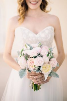 Blush peony & garden rose bridal bouquet by San Diego wedding florist, Compass Floral.