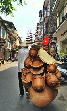 Experience the busy streets of Hanoi's old quarters.