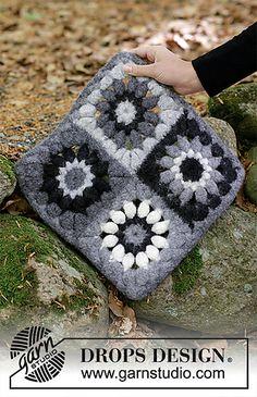 Crochet Motifs, Crochet Blocks, Crochet Diagram, Crochet Squares, Free Crochet, Knit Crochet, Crochet Patterns, Drops Design, Drops Patterns