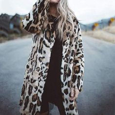 Europe and United Faux Fur Coat Women 2019 Autumn Winter Warm Soft Cardigan Fur Jacket Female Plush Overcoat Casual Outwear Long Faux Fur Coat, Leopard Fashion, Winter Jackets Women, Outerwear Women, Types Of Fashion Styles, Collection, Clothes For Women, Long Sleeve, Womens Fashion