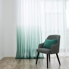 Selectex Linen Look Ombre Sheer Curtains - Rod Pocket Voile Curtains for Living and Bedroom, Set of 2 Curtain Panels x 84 inch, Ombre-green Ombre-Teal Green) Canopy Bed Curtains, Voile Curtains, Sheer Curtain Panels, Green Curtains, Velvet Curtains, Panel Curtains, Window Treatments Living Room, Living Room Windows, Ombre Green