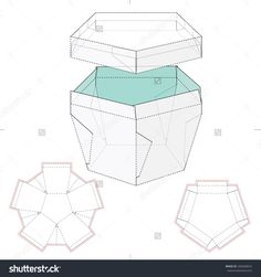 Pentagonal Box With Lid And Die Cut Template Stock Vector Illustration 268268024 : Shutterstock
