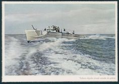 Color photo PC of German Kriegsmarine fast attack boat (S-boot) at sea. Carl Werner verlag caption in Portuguese....