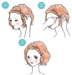 Short hair style. Tried this with my hair but it's too poofy