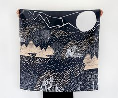 Mountain Blossom Midnight Furoshiki Scarf