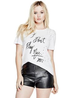 Destroyed Slogan Tee at Guess