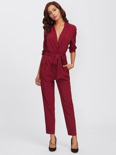 Shop Wrap And Tie Detail Tailored Jumpsuit online. SheIn offers Wrap And Tie Detail Tailored Jumpsuit & more to fit your fashionable needs. Tailored Jumpsuit, Cotton Jumpsuit, Halter Jumpsuit, Elegant Jumpsuit, Wrap Jumpsuit, White Jumpsuits And Rompers, Jumpsuits For Women, Burgundy Jumpsuit, Stylish Outfits