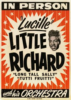 1950s music posters   AD66 Vintage 1950's Little Richard Music Concert Poster A4 Re-Print