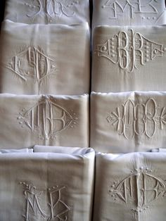 European Antiques : Monogrammed French linen sheets