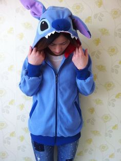 Lovely Stitch Japan Cosplay Ears Face Tail Zip Hoody Sweatshirt Hoodie Costume////just ordered this... i am trying to be patient but it hasn't come  yet and it's already been 5 min!!!!!!!!!!!