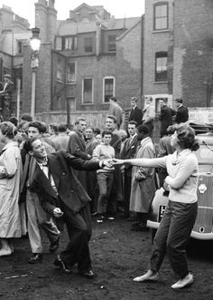 1956:  London's youth hang out on the streets of Soho (Photo by Werner Rings/BIPs/Getty Images)