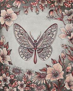 Butterfly from Sommarnatt by Hanna Karlzon #sommarnatt #hannakarlzon…  Davlin Publishing #adultcoloring