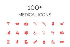 100+ Medical Vector Icons Pack by Creative Stall on @creativemarket