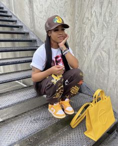 Baddie Outfits Casual, Cute Swag Outfits, Retro Outfits, Girl Outfits, Teenager Outfits, Fashion Outfits, Black Girl Fashion, Fall Fashion, Guys And Girls