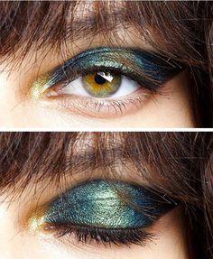 Iridescent eye makeup by Pat McGrath at John Galliano Spring/Summer 2015 #eyemakeup