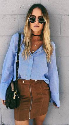 ootd+|+shirt+++brown+skirt+++bag