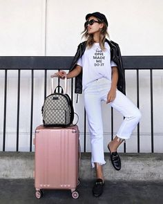 CHICAGO BOUND ✈️ Can't wait to eat my way through the city and check out my first Lollapalooza! (spell check please) Anyone else going to… Winter Travel Outfit, Travel Outfits, Glamour, Travel Style, Cool Girl, White Jeans, Stylish, Womens Fashion, Casual