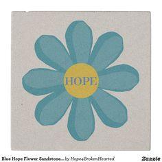 Blue Hope Flower Sandstone Stone Coaster