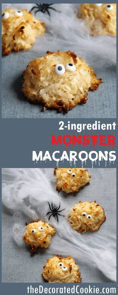 how to make 2-ingredient macaroon cookies -- monsters for Halloween