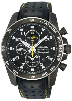 Seiko Watch, Men's Chronograph Black Perforated Leather Strap - All Watches - Jewelry & Watches - Macy's Dream Watches, Sport Watches, Luxury Watches, Cool Watches, Watches For Men, Stylish Watches, Black Watches, Seiko Sportura, Best Sports Watch