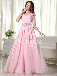Formal Pink A-Line Floor Length Chiffon V-Neck Cap Sleeve Prom Dress - US$135.99 - Style P0405 - Victoria Prom