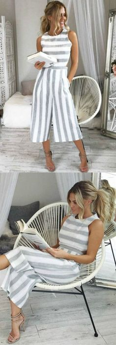 See Ya There Striped Jumpsuits:You and the See Ya There Striped Jumpsuit go together like tan lines and sunshine! A classic gray and white stripped print features side and back cut-outs, and a modest neck line. Modest Dresses, Casual Dresses, Casual Outfits, Cute Outfits, Fashion Outfits, Work Outfits, Dress Fashion, Love Fashion, Womens Fashion