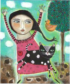 Mixed Media Painting Print  Expressive Cat Bird by kittyjujube, $12.00