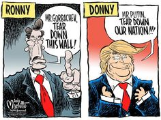 Editorial cartoon on Ronald Reagan and Donald Trump and Soviet Union and Russia