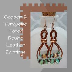 Copper & Turquoise (color) Double Leather Earrings, Southwestern Earrings, Dangle Earrings, Antique Copper,  Gift for Her by SHBeadCreations on Etsy