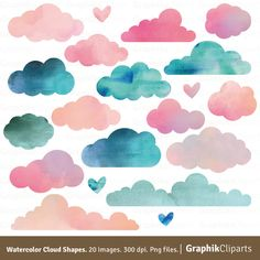 Watercolor Clouds Shapes. CLOUDS CLIP ART. Baby Shower Invitation, Kids Clip Art. 20 images, 300 dpi. Png files. Instant Download. by Graphikcliparts on Etsy