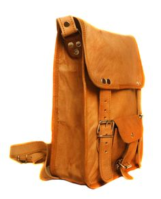 Light brown handmade from soft goat leather  laptop bag .