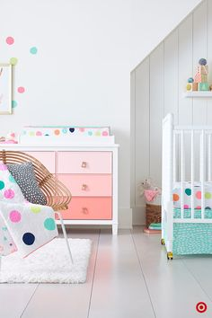 Welcome Baby to the world with color with the Oh Joy! Dots Nursery Collection, created by designer and blogger Joy Cho. Start by registering for the 4-pc. crib bedding set, then coordinate the rest of the nursery by adding blankets, swaddles, decorative pillows and wall art. The DaVinci Jenny Lind white crib is the perfect anchor for a room that's alive with color. DIY tip: Oh Joy! Dot Decals are easy to apply to furniture and walls for fun pops of color.