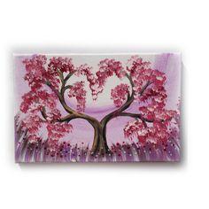 "Lilac cherry tree Painting Original small Art 16 KSAVERA 8""x12"" Flowers Art Nouveau Sakura painting on canvas birthday for mom her by KsaveraART #TrendingEtsy"